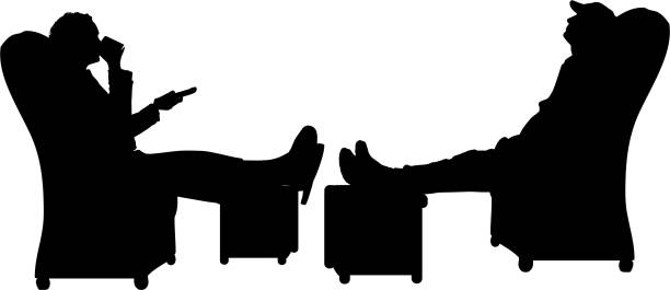 vector silhouette of a people. - old man sitting chair silhouettes stock illustrations, clip art, cartoons, & icons