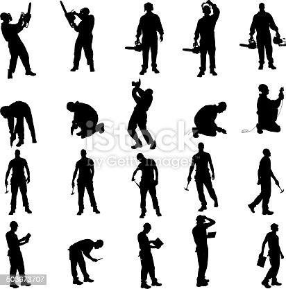Vector silhouette of a people working with tools on a white background.