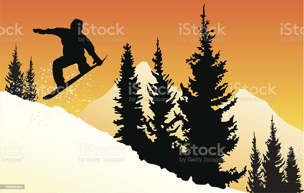 Vector silhouette of a snowboarder jumping at sunset in mountains. royalty-free stock vector art