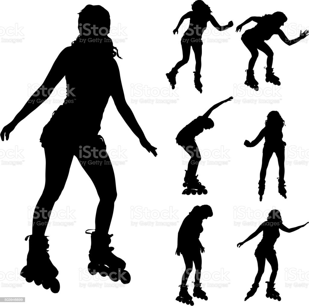 Vector silhouette of a woman on roller skates. vector art illustration
