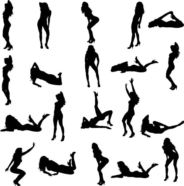 Vector silhouette of a woman. Vector silhouette of a woman who dances on a white background. sensuality stock illustrations