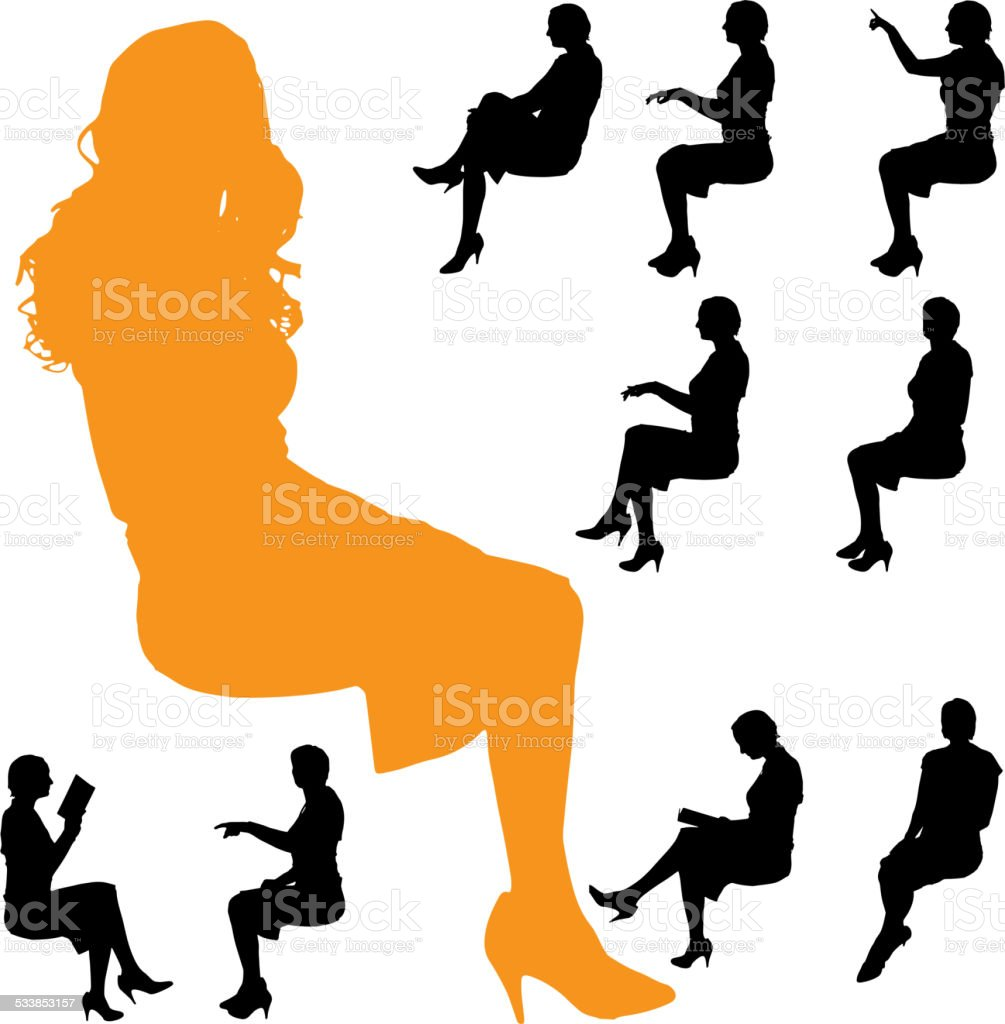 Vector silhouette of a woman. vector art illustration