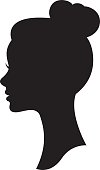 Vector silhouette of a woman with a wedding hairstyle