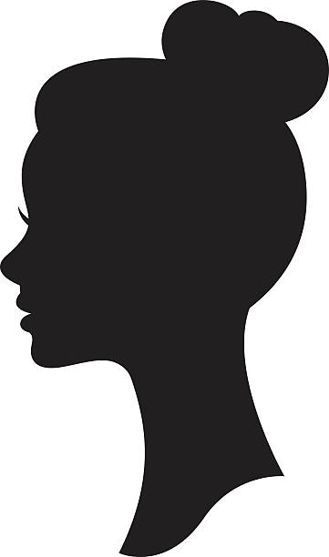 vector silhouette of a woman with a wedding hairstyle - female faces stock illustrations, clip art, cartoons, & icons