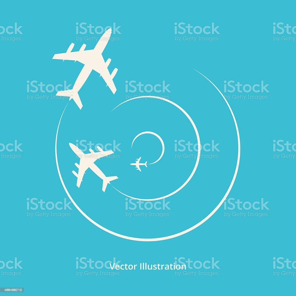 Vector silhouette of aeroplanes vector art illustration