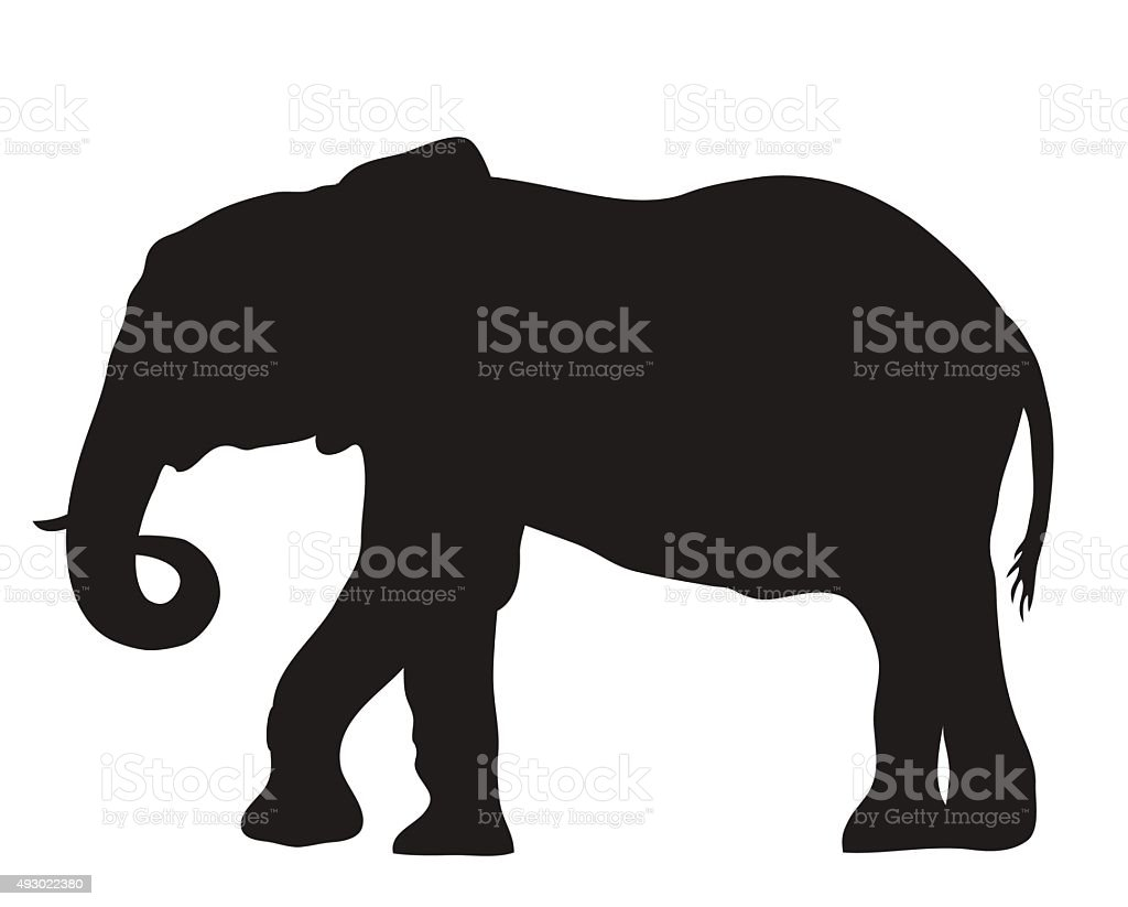vector silhouette of an elephant moving vector art illustration