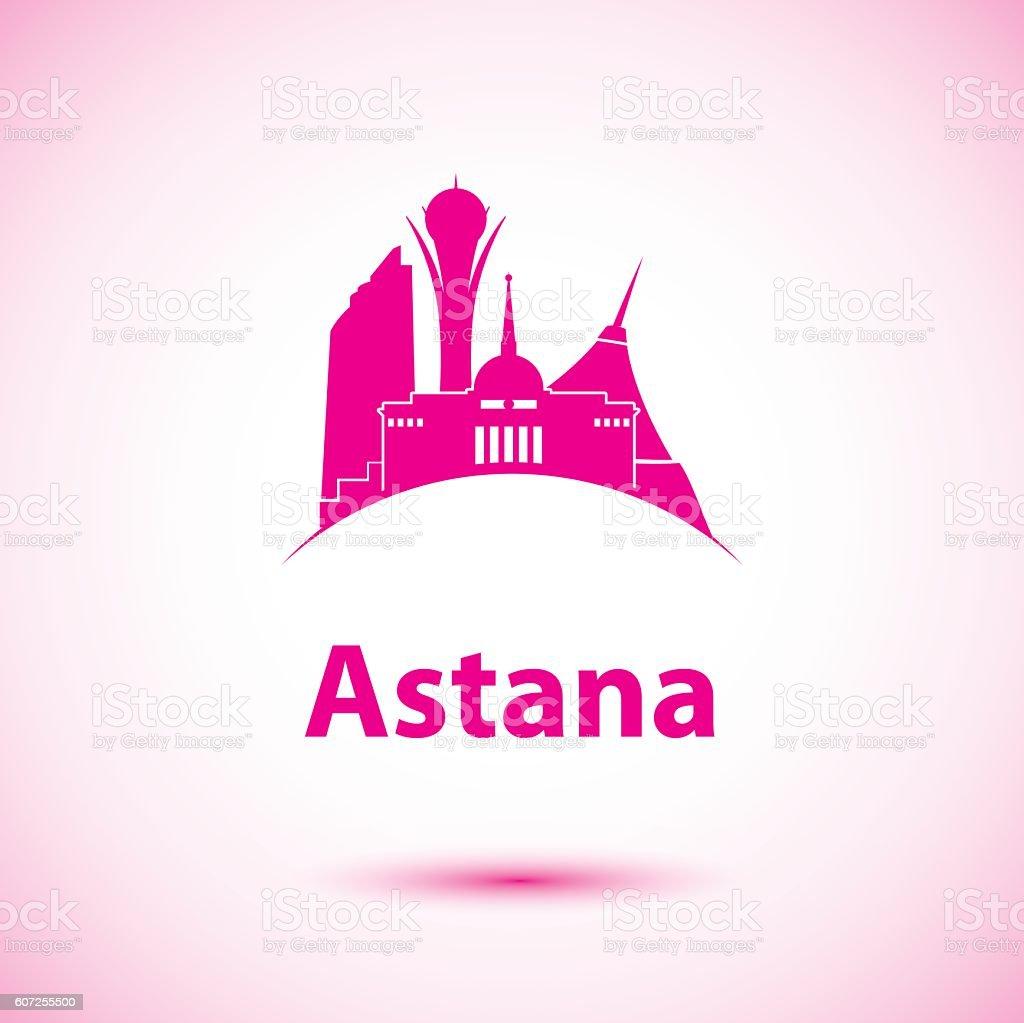 Vector silhouette of Astana, Kazakhstan vector art illustration