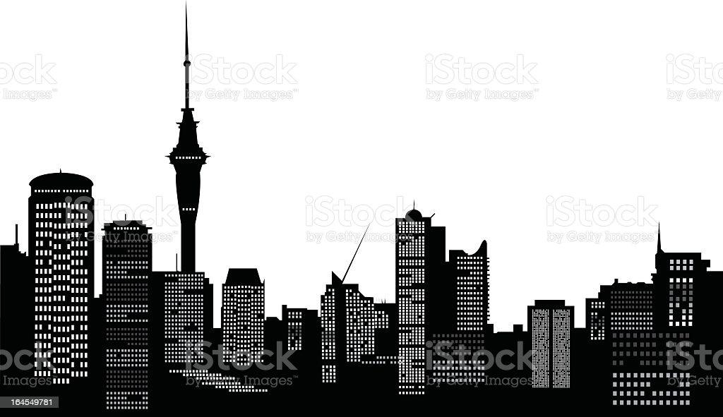 A vector silhouette of Auckland city skyline vector art illustration