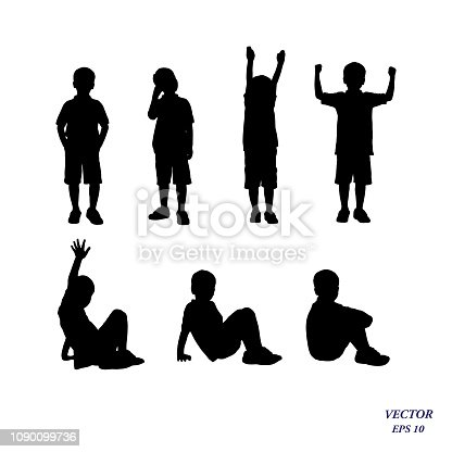 Child collection.Vector silhouette of confident boy standing and siting in different poses. Isolated on white background. EPS10