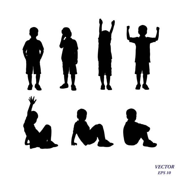 vector silhouette of boy standing and siting in different poses. - chłopcy stock illustrations