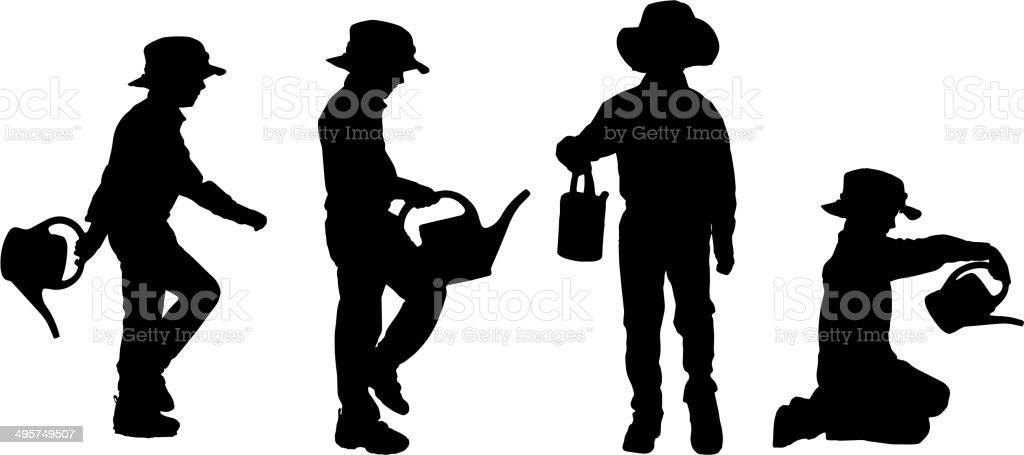 Vector silhouette of boy. royalty-free vector silhouette of boy stock vector art & more images of activity