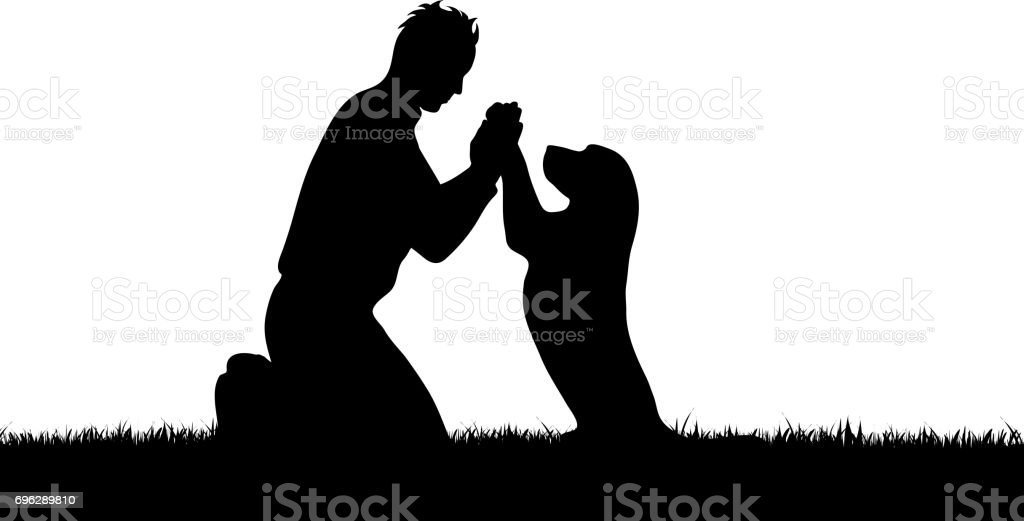 Vector silhouette of boy with dog on white background.