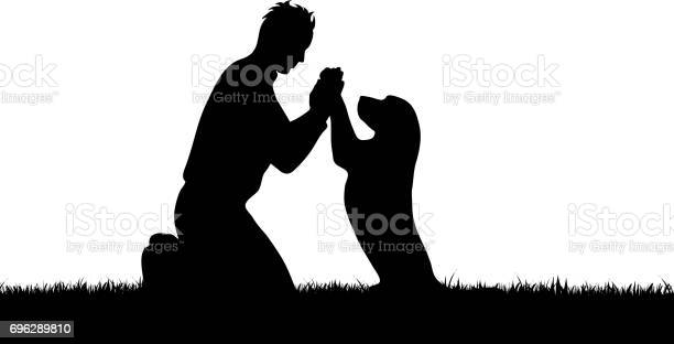 Vector silhouette of boy with dog on white background vector id696289810?b=1&k=6&m=696289810&s=612x612&h=fbd45fnplt6uagerft mzsrxe3fbulonztqk3t3qh 8=