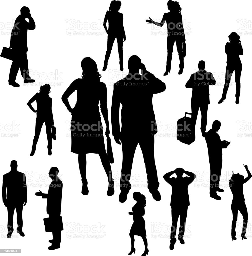 Vector silhouette of business people. vector art illustration