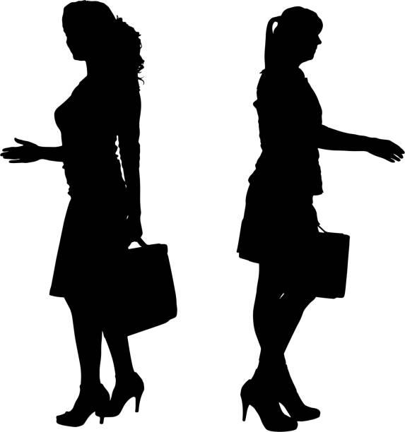 vektor-silhouette der geschäftsfrau. - chefin stock-grafiken, -clipart, -cartoons und -symbole