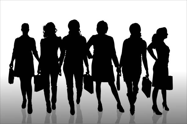 ilustraciones, imágenes clip art, dibujos animados e iconos de stock de vector silueta de mujer de negocios. - ejecutiva