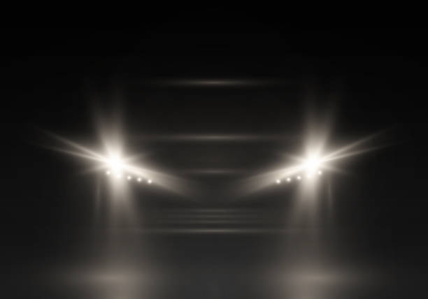 vektor-silhouette des autos. - kopfleuchten stock-grafiken, -clipart, -cartoons und -symbole