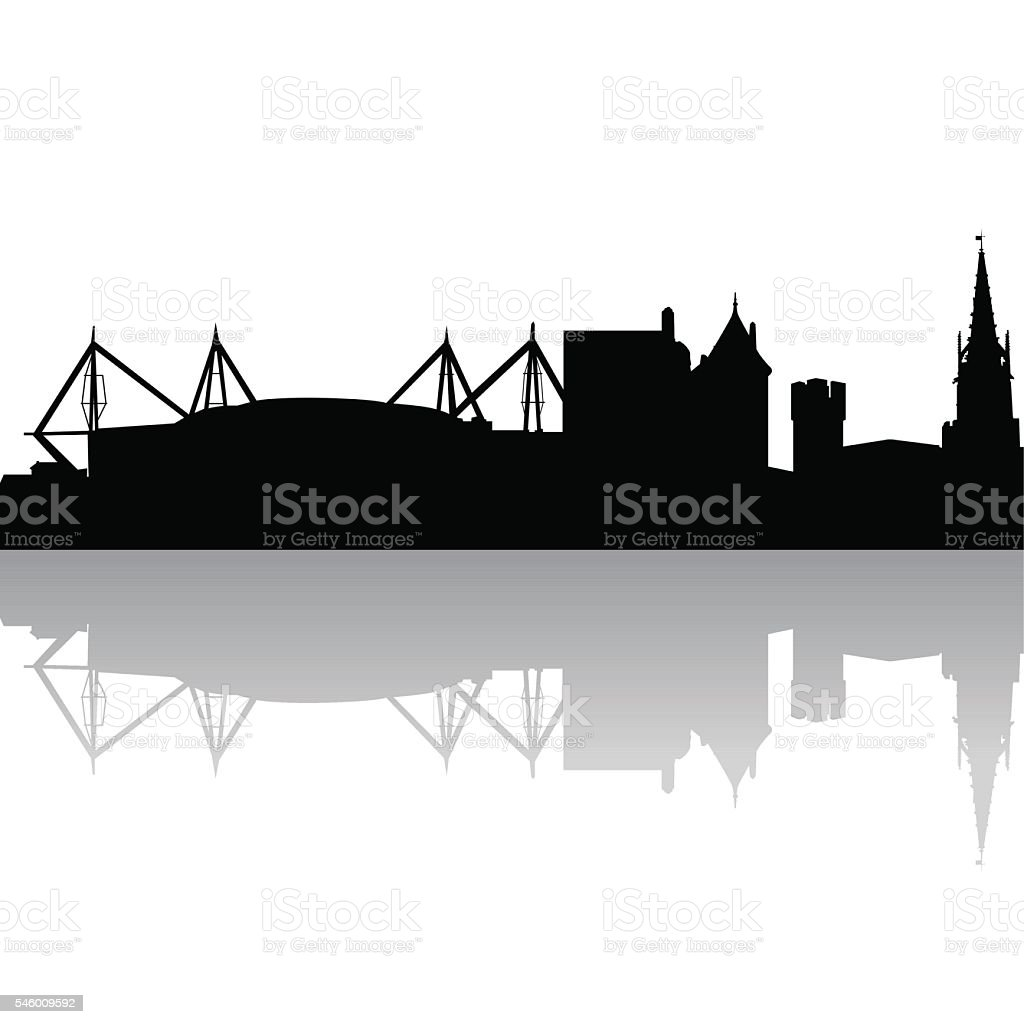 Vector silhouette of Cardiff. UK vector art illustration