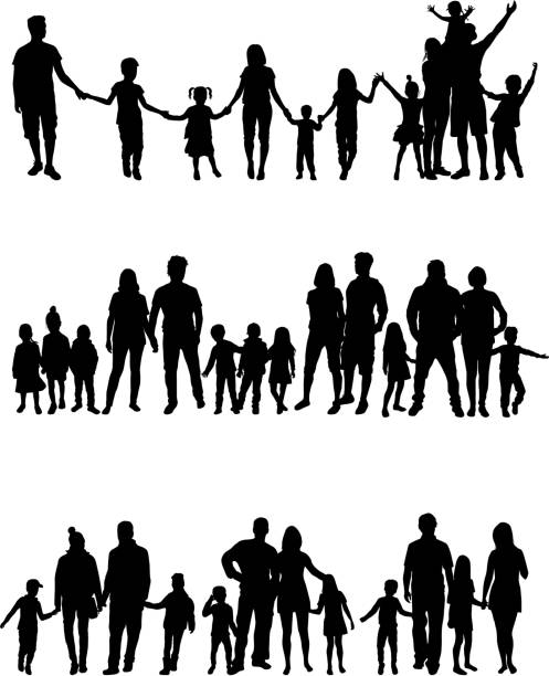 vector silhouette of children on white background. - happy family stock illustrations
