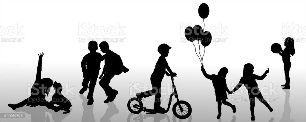Vector silhouette of children. vector art illustration