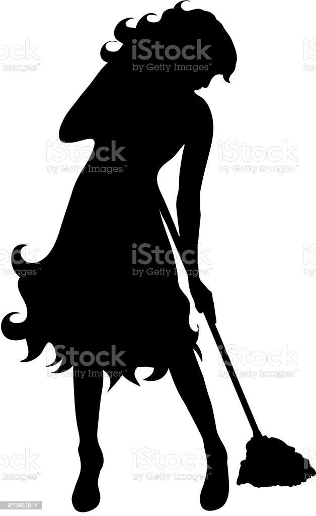 Vektor-Silhouette der Putzfrau auf weißem Hintergrund. – Vektorgrafik