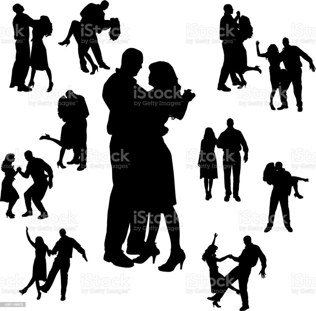 Vector silhouette of dance. vector art illustration