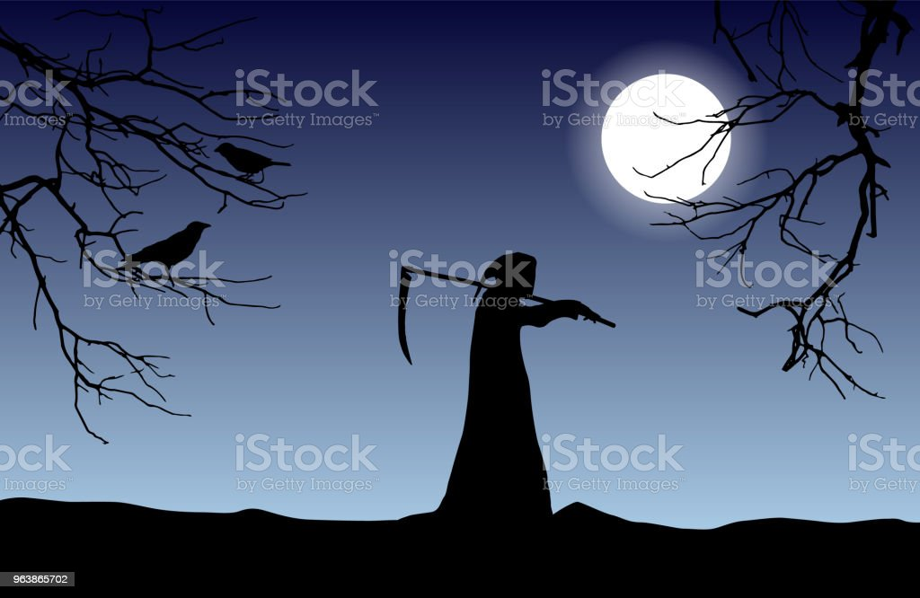 Vector silhouette of death in a hood holding a scythe over shoulder with dead tree branches and crows in front of glowing moon. - Royalty-free Animal stock vector