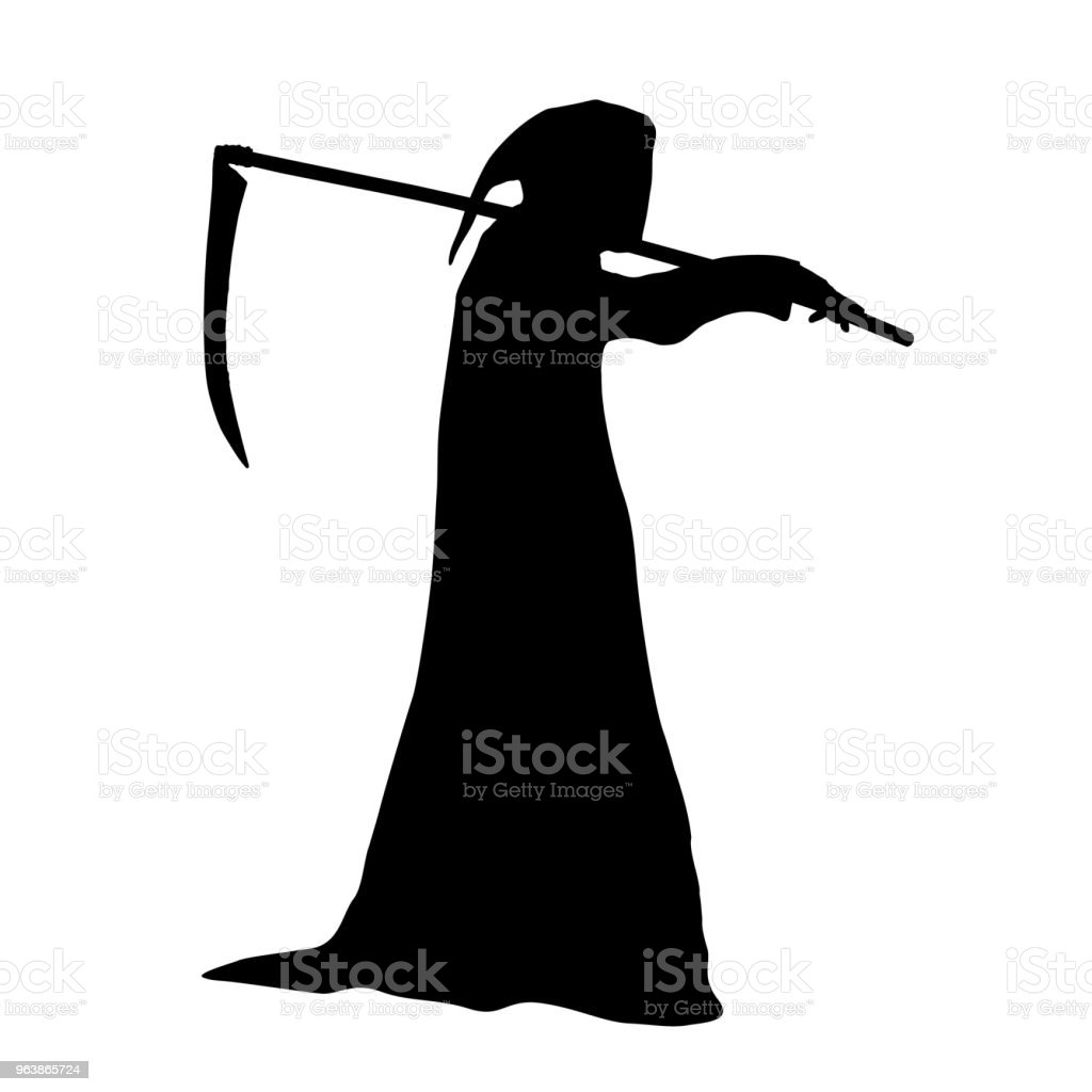 Vector silhouette of death in a hood holding a scythe over shoulder. - Royalty-free Animal stock vector