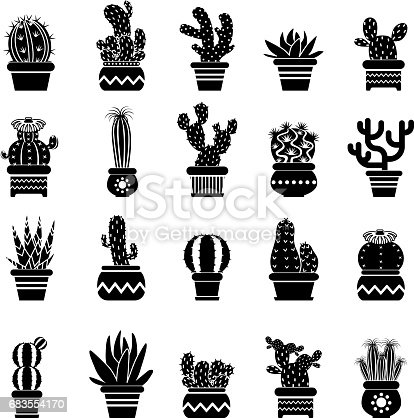 Vector Silhouette Of Desert Plants Monochrome ...