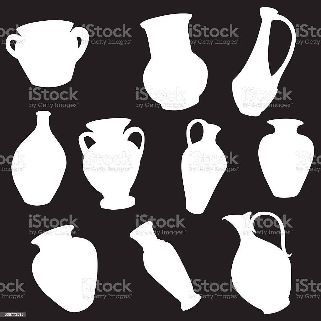 vector silhouette of different pitchers vector art illustration