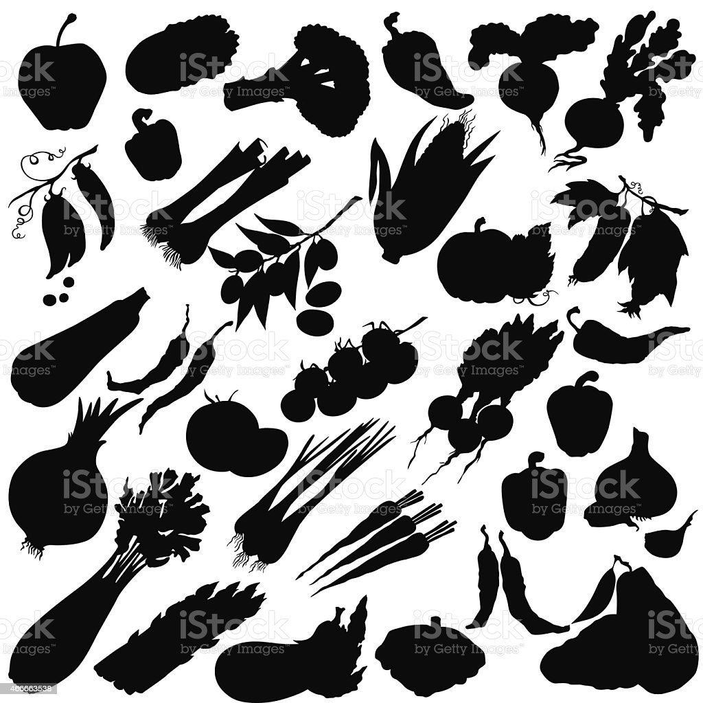 Vector silhouette of different vegetables vector art illustration