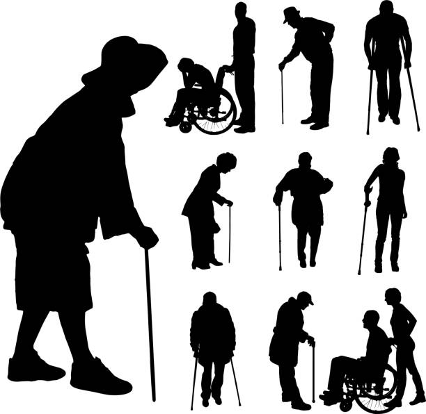 vector silhouette of disabled people. - old man sitting backgrounds stock illustrations, clip art, cartoons, & icons