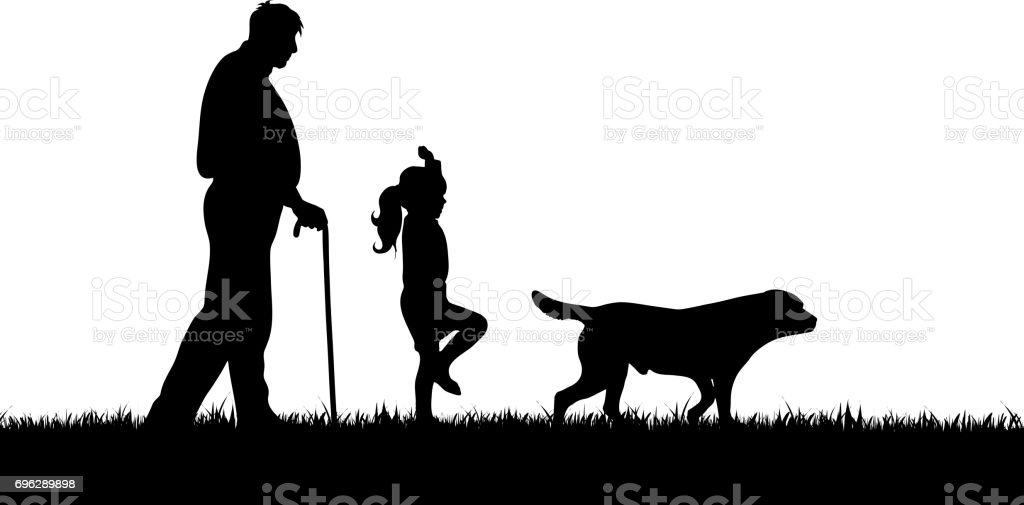 Vector silhouette of family on white background. vector art illustration