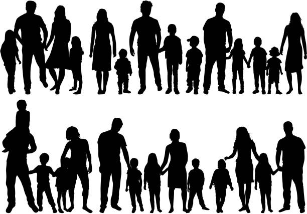 vector silhouette of family. - family stock illustrations, clip art, cartoons, & icons
