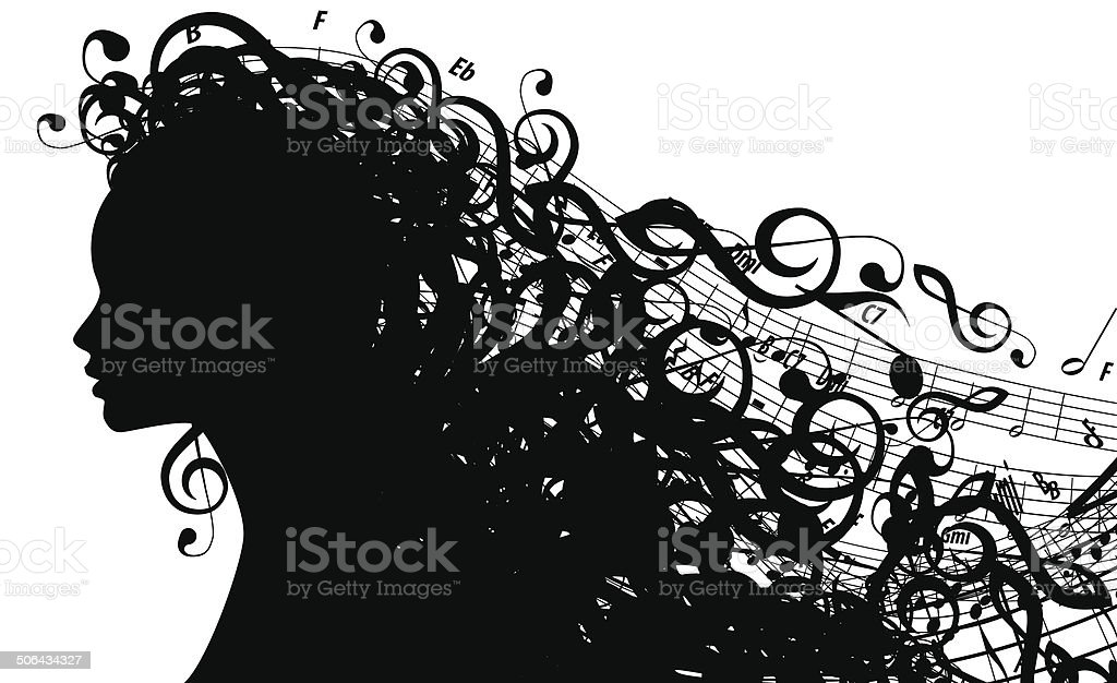 Vector Silhouette of Female Head with Musical Symbols vector art illustration