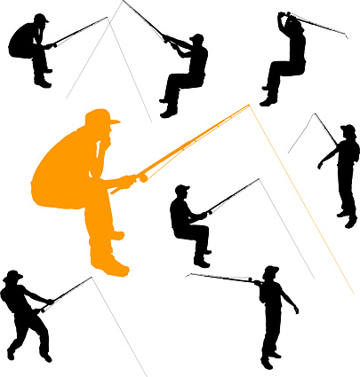 Vector silhouette of fishermen.