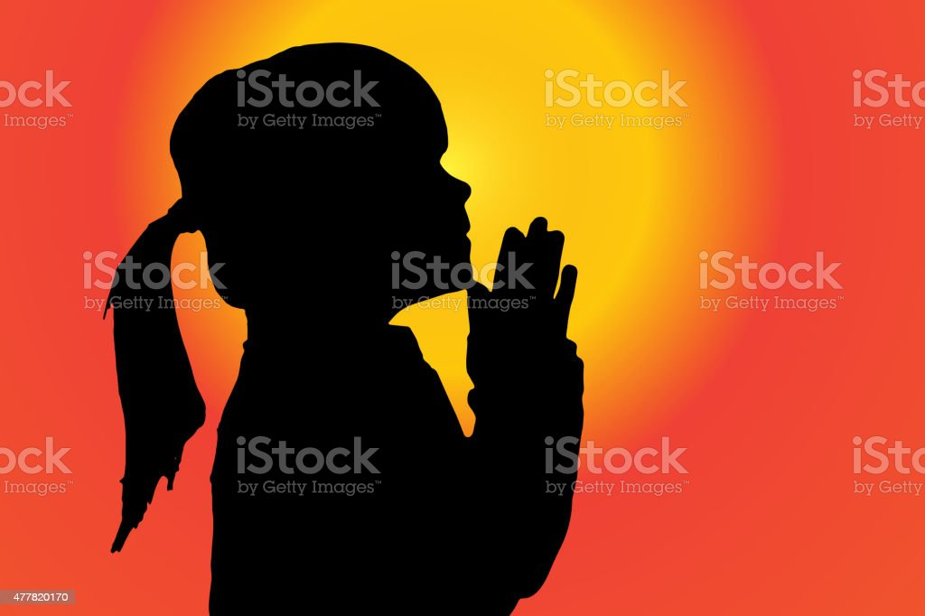 Vector silhouette of girl. vector art illustration