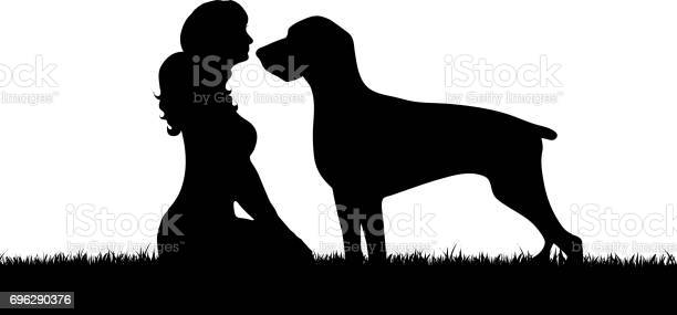 Vector silhouette of girl with dog on white background vector id696290376?b=1&k=6&m=696290376&s=612x612&h=xwgk50jpvcjwzsew4pajcx jj0sa9bt7ekfb2bapo g=