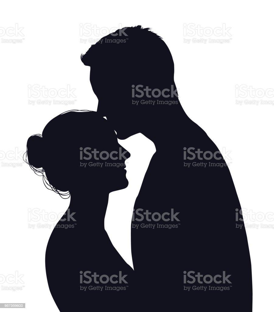 幸せなカップルが白い背景で隔離のベクトル シルエット - 2人のベクター