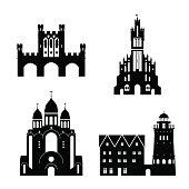 Vector silhouette of Kaliningrad landmarks