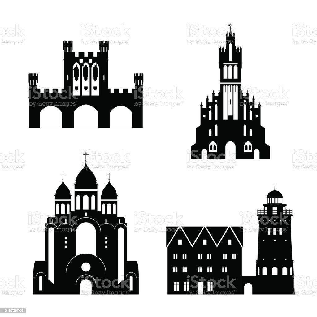 Silhouette vecteur des monuments de Kaliningrad - Illustration vectorielle