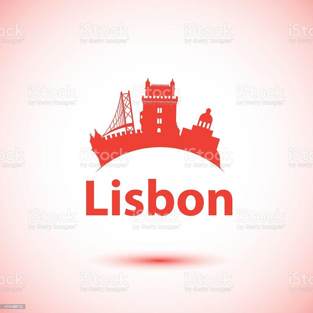 Vector silhouette of Lisbon, Portugal. City skyline. vector art illustration