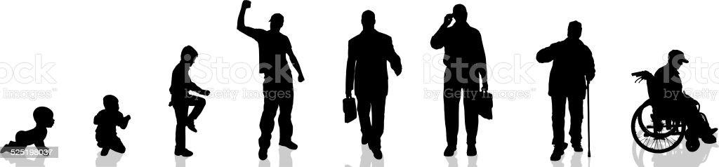 Vector silhouette of man. vector art illustration