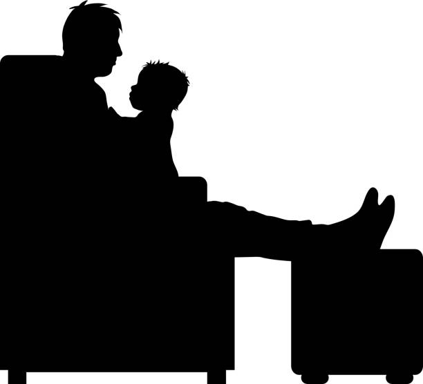 vector silhouette of man with baby on white background. - old man sitting backgrounds stock illustrations, clip art, cartoons, & icons