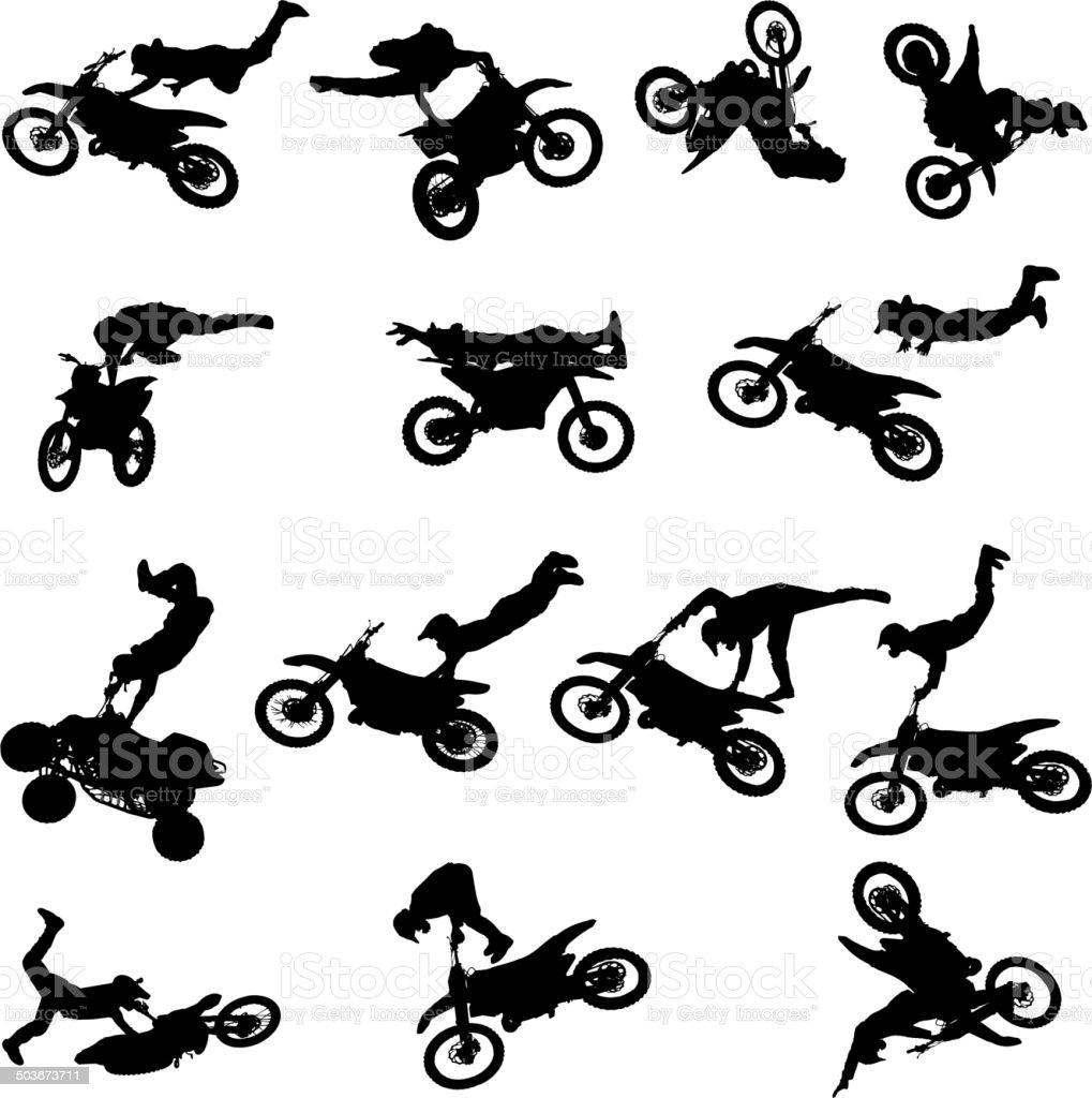 Vector silhouette of man with motorcycle. vector art illustration