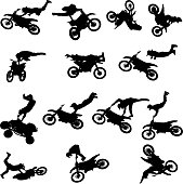 Vector silhouette of man with motorcycle.