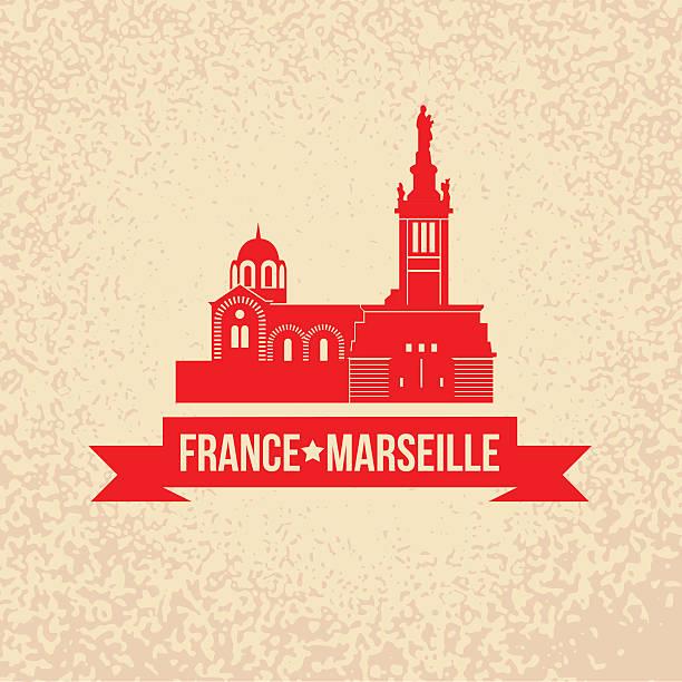 stockillustraties, clipart, cartoons en iconen met vector silhouette of marseille, france. - marseille