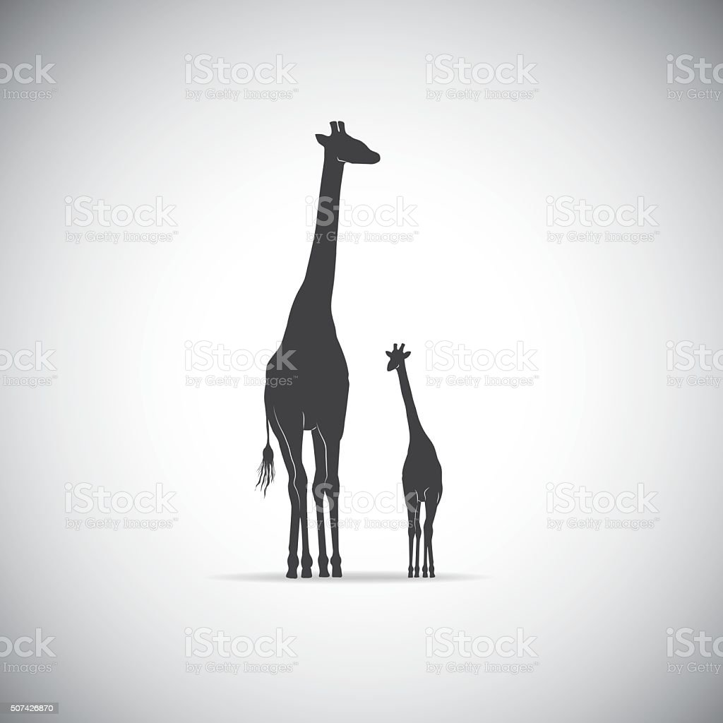 Vector silhouette of mother giraffe with her baby vector art illustration