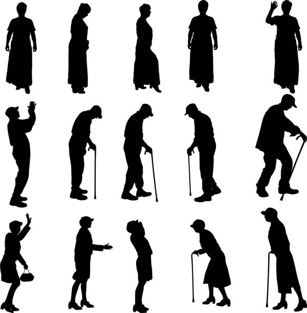 vector silhouette of old people. - old man hat stock illustrations, clip art, cartoons, & icons