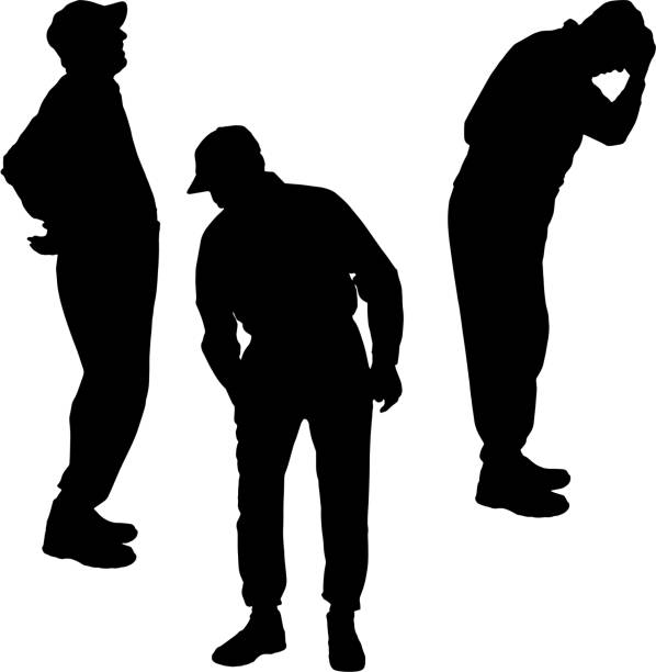 vector silhouette of old people. - old man sitting chair silhouettes stock illustrations, clip art, cartoons, & icons